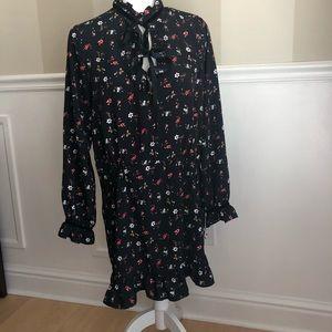 Zara Basic Z1975 Denim floral ruffle print dress